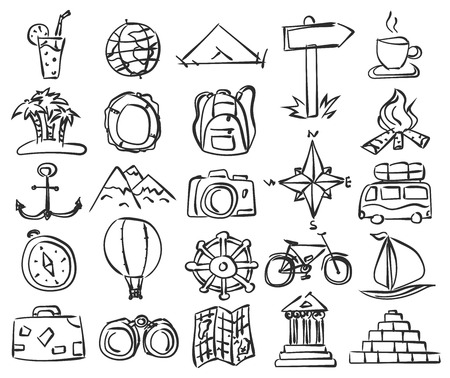 compass rose: Travel icons set. Vector doodle sketch. Stock illustration for design