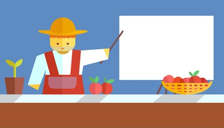 blackboard cartoon: Farmer shows on board. Vector flat. Stock illustration