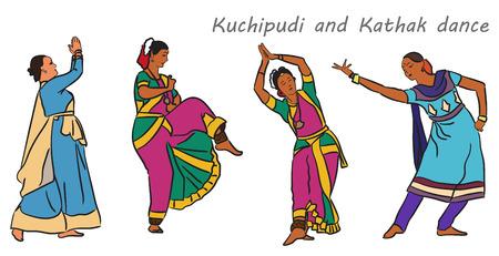 kathak: Isolated indian Kuchipudi and Kathak dancers. Vector set