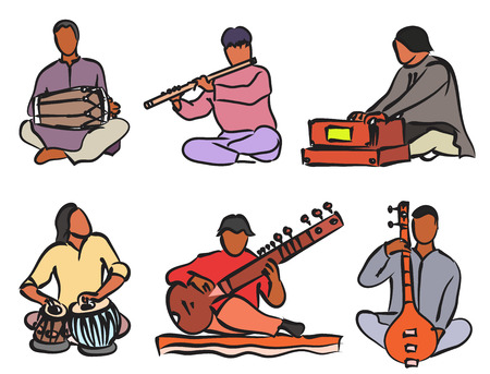 instruments: Indian musician playing traditional musical instruments. Vector isolated set