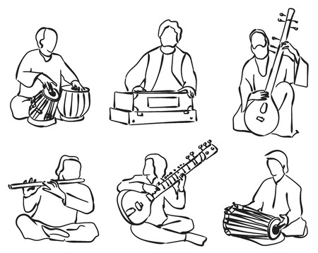 indian traditional: Indian musician playing traditional musical instruments. Vector silhouette set