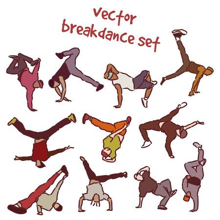 Vector set of break dancers. Stock illustration for design