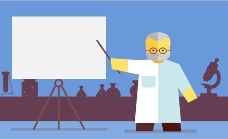 Chemistry teacher shows on board. Vector flat. Stock illustration
