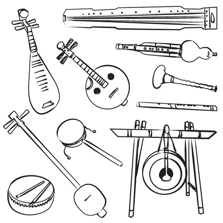 Chinese traditional musical instruments. Vector contour set for music billboard Çizim