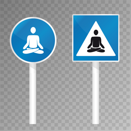 nirvana: Road sign with meditating silhouette. Vector illustration Illustration