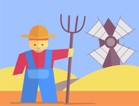 pitchfork: Farmer with pitchfork. Vector flat. Stock illustration Illustration