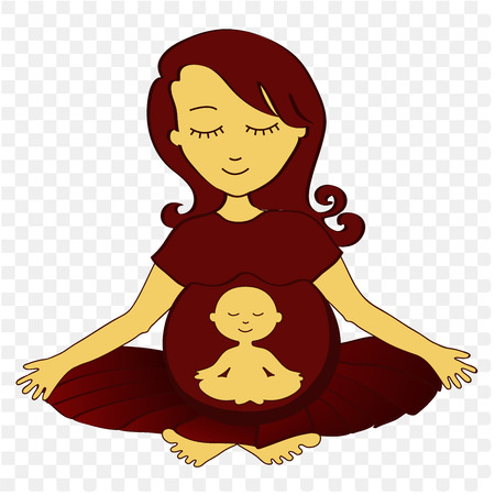 meditates: meditating pregnant woman with small meditating child in a stomach - vector illustration