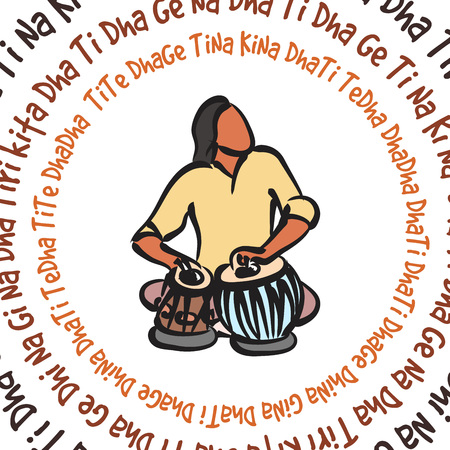 vector silhouette of indian musician playing tabla
