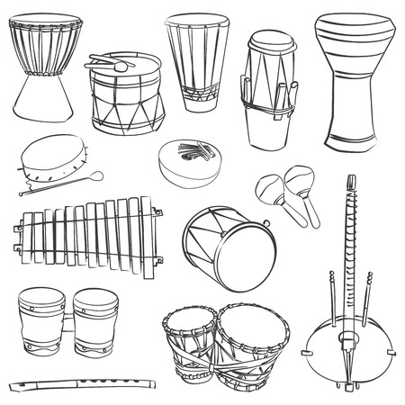 Isolated traditional african instruments. Vector contour set for music billboard Banco de Imagens - 51680426