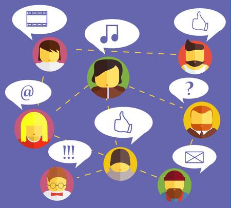 friend chart: Social network icons. Vector stock illustration for design