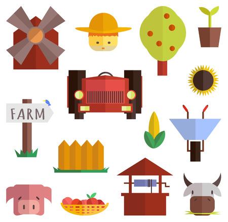 Farm icons. Vector flat set. Stock illustration