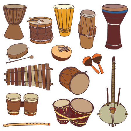 bateria musical: instrumentos tradicionales africanos aislados. contorno de conjunto de vectores para la cartelera de m�sica