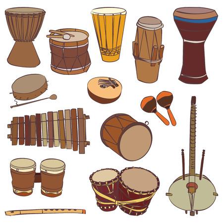 Wyizolowane tradycyjne instrumenty afrykańskie. kontur Wektor zestaw do muzyki billboardzie