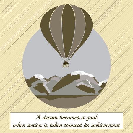 range: Air balloon on mountain range. Vector stock illustration