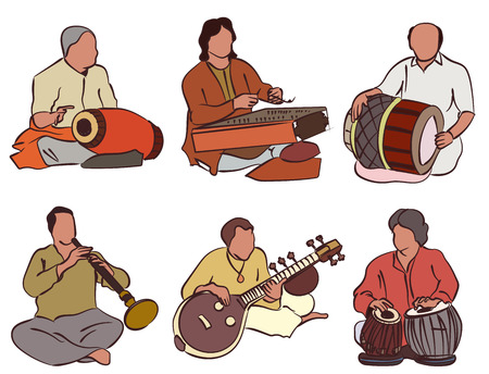 the musician: Indian musician playing traditional musical instruments. Vector silhouette set