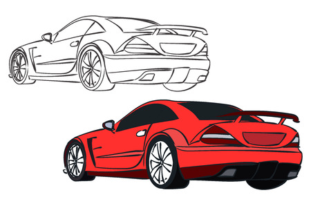 stock car: Vector sport car. Stock illustration for coloring books