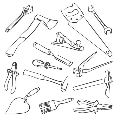 carpentry cartoon: Vector work tools. Stock illustration for coloring books