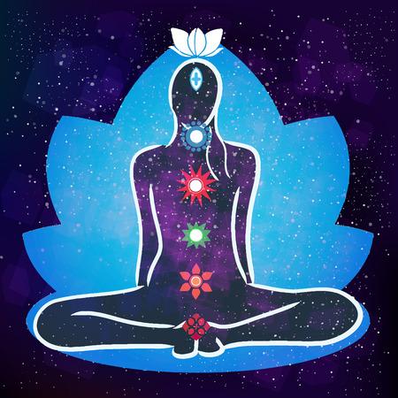 human energy: Energy scheme of human body. Vector stock illustration Illustration