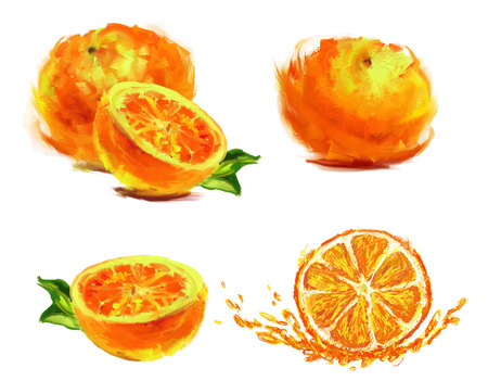 pencil drawings: isolated slice of orange with juice on white background