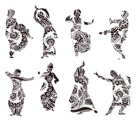 india pattern: Isolated black silhouettes of indian dancers in mehndi style. stock illustration for design on white background