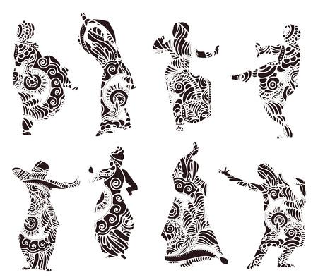 danza clasica: siluetas negras aisladas de bailarines indios en estilo mehndi. ilustración stock para el diseño sobre fondo blanco