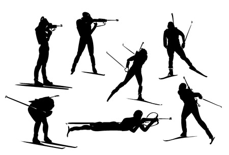 Isolated black set of biathlon silhouette. stock illustration for design on white background Vettoriali
