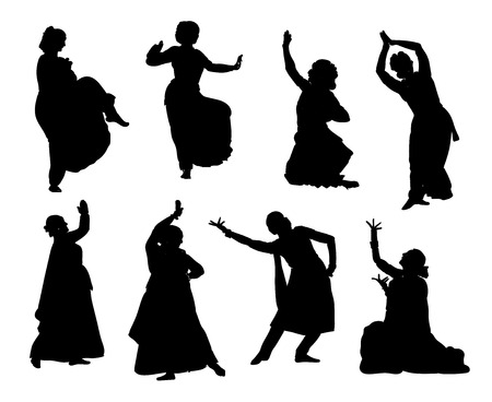 Isolated black silhouettes of indian dancers. stock illustration for design on white background