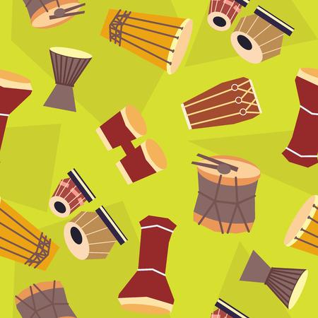 bongos: Seamless ethnic drums pattern. Vector flat. Stock illustration for design Illustration