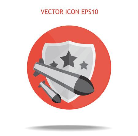 ballistic missile: Round shield icon. Vector flat logo. Stock illustration for design on white background
