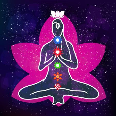 transcendence: Energy scheme of human body. Vector stock illustration Illustration