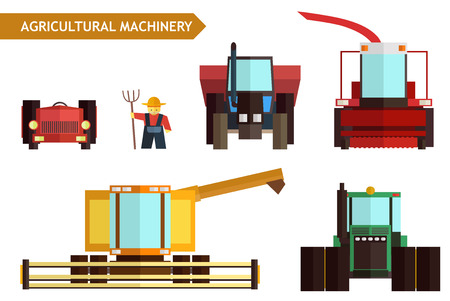 an agronomist: Agricultural machinery. Vector flat set. Stock illustration for design