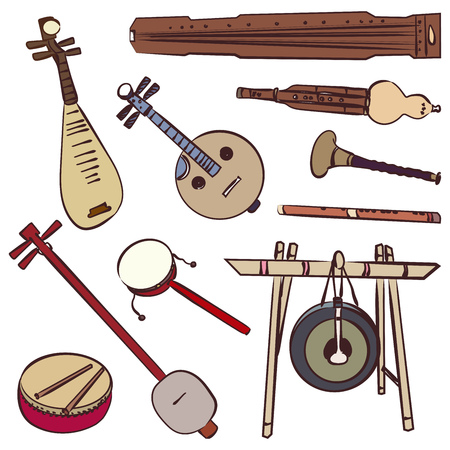 Chinese traditional musical instruments. Vector contour set for music billboard Illustration