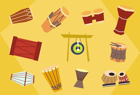 Ethnic drums - exotic percussion. Vector flat set. Stock illustration