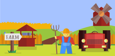 an agronomist: Farm. Vector flat set. Stock illustration for design Illustration