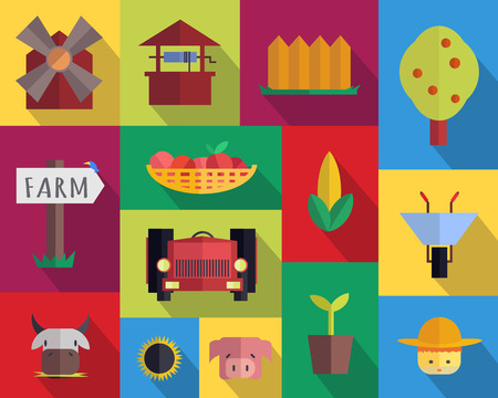 an agronomist: Farm icons. Vector flat set. Stock illustration
