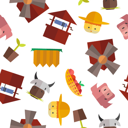 an agronomist: Seamless farm pattern. Vector flat. Stock illustration for design