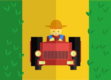 an agronomist: Farmer rides tractor in field. Vector flat set. Stock illustration Illustration