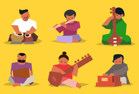 man sitting: Indian musician playing traditional musical instruments. Vector isolated set