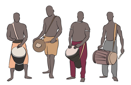 African musician playing traditional musical instruments. Vector silhouette set on white background.