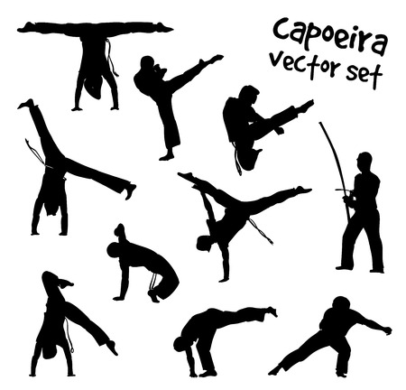 Isolated silhouettes capoeira fighting. Vector set for design on white background. Vettoriali