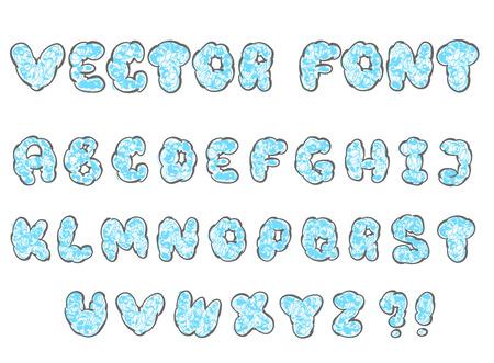 roundish: vector illustration of doodle cloud font for design