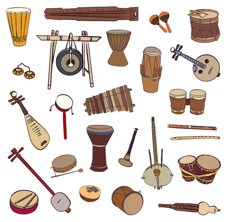 Isolated traditional ethnic instruments. Vector contour set for music billboard on white background.