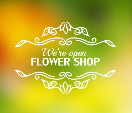 signage: Vintage signage for flower shop. Vector logotype