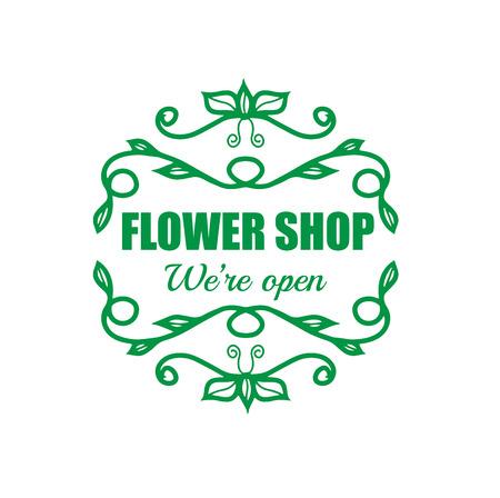 signage: Vintage signage for flower shop. Vector logotype on white background.