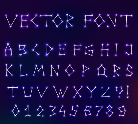 Vector constellation font in space. Set of letters. Stock illustration of alphabet for design Vettoriali