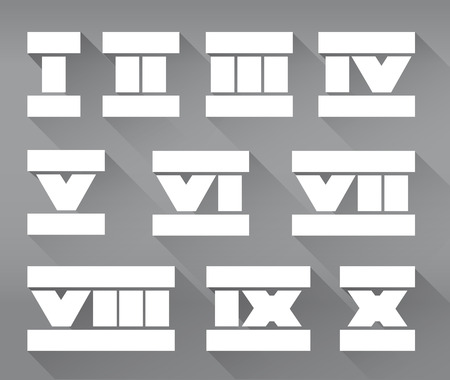 roman numerals: Vector set of isolated flat roman numerals. Stock illustration for design