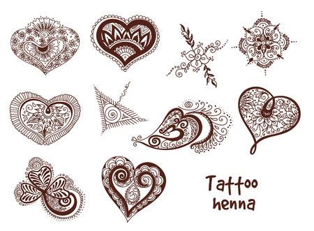 omkara: Vector abstract pattern of tattoo henna. Stock mehndi set for design on white background.