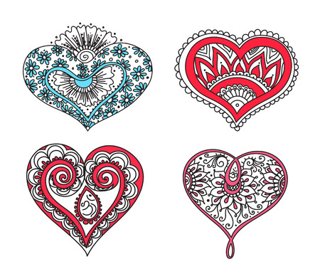 heart chakra red: Vector abstract pattern of tattoo henna hearts. Stock mehndi set for design on white background.