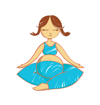 mind body soul: Isolated meditating pregnant woman. Stock illustration for design on white background.