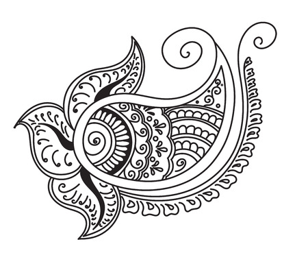 mendie: Vector abstract pattern of tattoo henna. Stock mehndi illustration for design on white background.